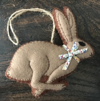 Hand Crafted Felt Running Hare with Liberty Bow