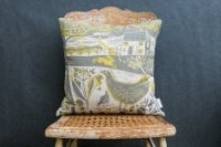 Running Hare Scene Linen Cushion by Sam Wilson Studio