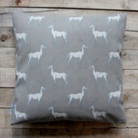 Antelope print, grey cushion by Biggie Best