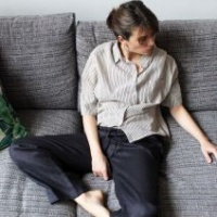 Isabel Relaxed Linen Pants Charcoal  S/M - 8 to 10 by Biggie Best