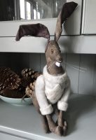 Hand Crafted Textile Hare in Felt Star Sweater by Ema Corcoran at The Hare in The Sweater
