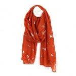 Burnt Orange Scarf with Gold Bees by Peace of Mind