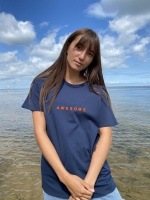 Darcey T-Shirt Navy with Bright Orange ''Awesome'' logo by ChalkUK