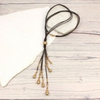 Dark  brown cord necklace with worn gold finish droplets by Peace of Mind