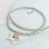 Silver & Rose Gold Plated Double Star Bracelet by Peace of Mind