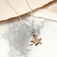 Sterling Silver & Rose Gold Plate, Double Star necklace by Peace of Mind