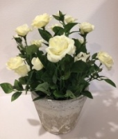Faux Miniature White Rose in a Stoneware Pot