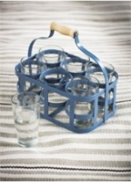 Dorset blue glass carrier & glasses by Garden Trading