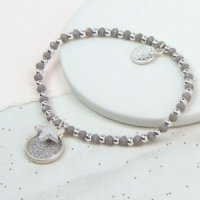Silver Plated Sparkle Disc and Star Charm Bracelet by Peace of Mind