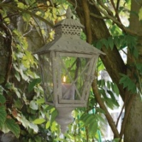 Rustic hanging garden lantern by Grand Illusions