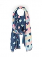 Pastel Hearts Scarf in Blue by Peace of Mind
