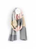 Pink/Grey Chevron Weave Scarf by Peace of Mind
