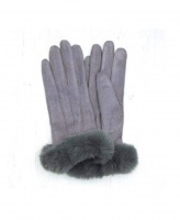Microfibre Gloves in Grey with Faux Fur Trim by Peace of Mind
