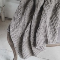 Light Grey Cable Throw by Biggie Best