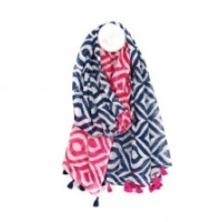 Blue & Pink Cotton Diamond Print Scarf by Peace of Mind