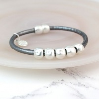 Grey Leather Silver Plated Bead Bracelet by Peace of Mind
