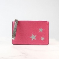 Metalic Pink Card Holder with Silver Stars by Peace of Mind