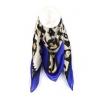 Silky Animal Print Blue Border Scarf by Peace of Mind