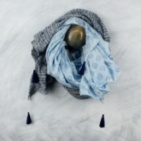 Blue, Hand Block, Cotton, Tassel Scarf by Peace of Mind