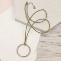 Large Crystal Golden Hoop Tan Cord Necklace by Peace of Mind