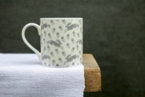 Running Hare white mug by Sam Wilson Studio