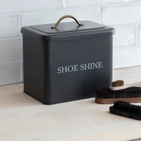 Steel Shoe Shine Box with Lid Charcoal by Garden Trading