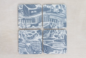 Through The Fields, set of four coasters by Sam Wilson Studio