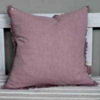 Rosewood, brushed linen, fringed cushion by Biggie Best