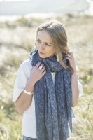 Tutti & Co navy, leaf print scarf