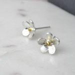 Sterling Silver Gold Plated Flower Stud Earrings by Peace Of Mind