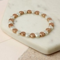 Matt silver and rose brushed metal disc bracelet by Peace of Mind