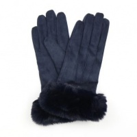 Navy Faux Suede Gloves with Faux Fur Trim by Peace Of Mind