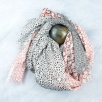 Terracotta and black print lurex natural cotton scarf by Peace of Mind