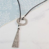 Silver plated drop and hoop lariat necklace by Peace of Mind