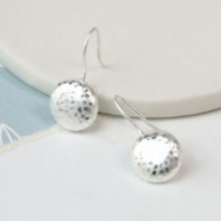 Silver plated worn finish hammered earrings by Peace of Mind