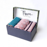 Triple Sock Box in Blue and Pink Stripe by Peace of Mind
