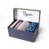 Triple Sock Box in Pink and Blue Star by Peace of Mind