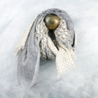 Taupe and Navy print lurex natural cotton scarf by Peace of Mind