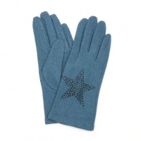 Teal Wool Gloves with Embellished Star by Peace Of Mind