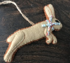 Hand Crafted Felt Leaping Hare with Liberty Bow.