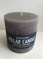 Rustic Pillar Candle 10cm x 10cm Grey by Grand Illusions