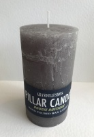 Rustic Pillar Candle 13cm x 7cm Grey by Grand Illusions