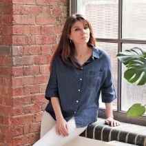 Maisie Denim Linen Shirt L/XL -12 to 14 by Biggie Best
