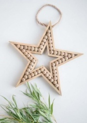 Wooden beaded  hanging star by Tutti & Co