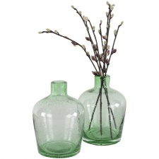 Green glass bottle vase by Grand Illusions