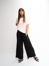 Luna Jersey Drape Wide Leg Trousers Black by ChalkUK
