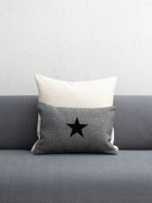 Oblong Felt Charcoal Cushion with Black Star by ChalkUK