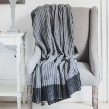 Dark Grey, wool rich ribbed Throw by Biggie Best