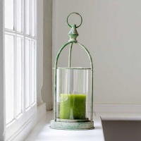 Metal Hurricane Lantern Antique Green by Grand Illusions