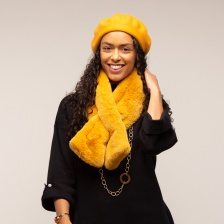 Mia faux fur scarf, mustard by Tilley & Grace